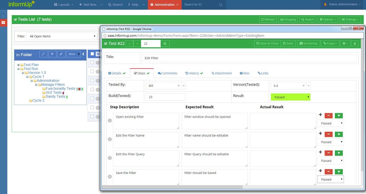 Test case management tool of InformUp - TestUp software