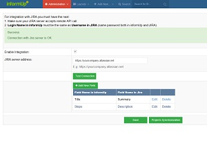 Test Case Management - setting page for integration with jira